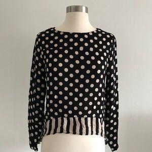 Zara Polka Dot Blouse Long Sleeve Shirt Top Sz S